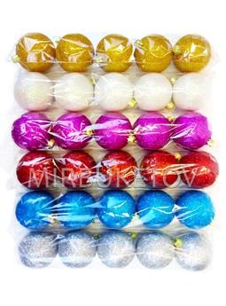 """Елочные шары """"Блестящие"""", в кульке 5 шт, 60 мм, Cx2"""