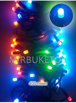 "Гирлянда LED разноцветная, 400 ламп ""рис"", черный шнур"