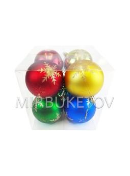 """Елочные шары 8 шт в колбе """"Острые снежинки"""", микс, 80 мм"""