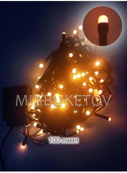 Гирлянда LED желтая, 100 ламп рисинок, черный шнур, LED100YL-BR