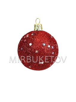 """Елочный шар """"Блестки шестигранники и звезды"""", красный, 60 мм, Cx4"""