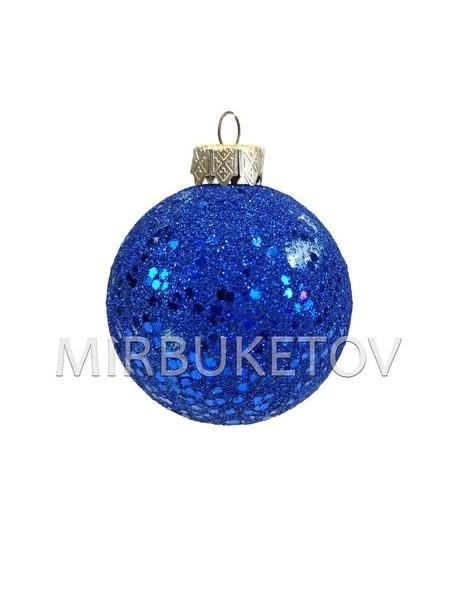 """Елочный шар """"Блестки шестигранные"""", синий, 60 мм"""