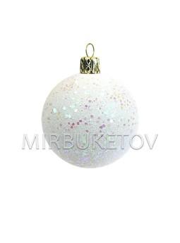 """Елочный шар """"Блестки шестигранные"""", молочно-белый, 60 мм, Cx7"""