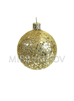 """Елочный шар """"Блестки шестигранные"""", золотистый, 60 мм, Cx8"""