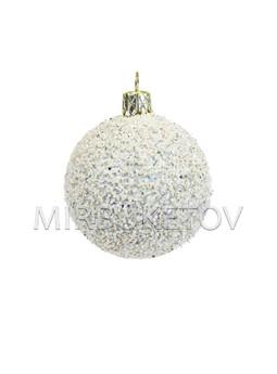 "Елочный шар ""Сахарные блестки"", молочно-белый, 60 мм, Cx10"