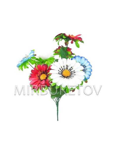 Искусственные цветы Букет Ромашки разноцветной, 7 голов, 340 мм