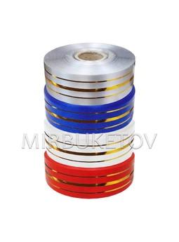 Лента для оформления букетов 3 золотые полосы, 30 мм, 50 ярд, S1607-30
