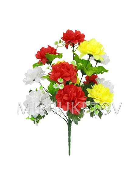 Искусственные цветы Букет Георгины разноцветной, 13 голов, 410 мм