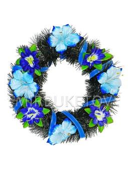 """Траурный венок """"Сине-голубая Мальва"""", 44 см, TW002"""