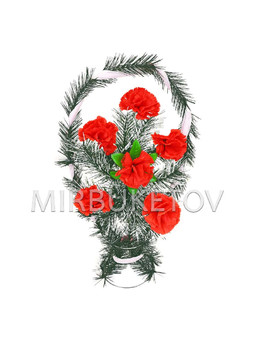 """Траурный венок корзина """"Красные гвоздики"""", 50 см, TW101"""