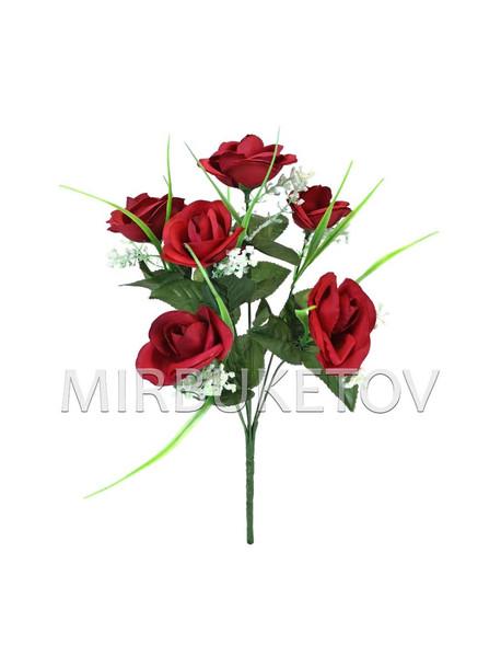 Искусственные цветы Букет Розы открытой, шелк, 7 голов, 370 мм