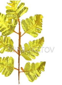 Ветка папоротника на 7 листьев, золотой, 400 мм