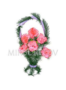 """Траурный венок корзина """"Розовые гвоздики"""", 50 см, TW103"""