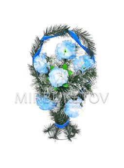 """Траурный венок корзина """"Голубые гвоздики"""", 50 см, TW104"""