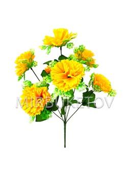 Искусственные цветы Букет Георгины с розеткой, 7 голов, 430 мм
