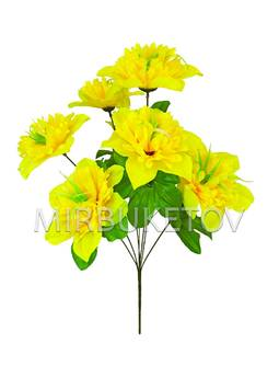 Искусственные цветы Букет Японского Нарцисса, 7 голов, 510 мм