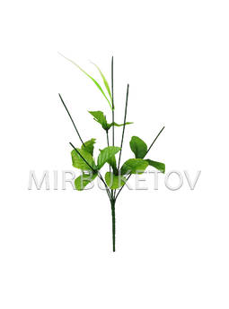 Букетная ножка на 6 голов с листьями и добавкой, 390 мм, N198