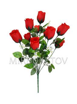 """Искусственные цветы Букет Роз """"Украина"""", 10 голов, 530 мм"""