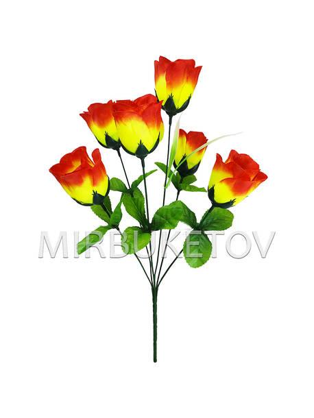 """Искусственные цветы Букет Розы """"Ахтырка"""", 6 голов, 460 мм"""