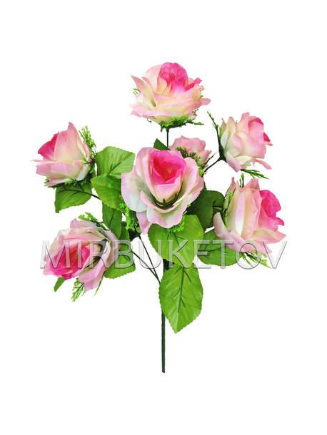 Искусственные цветы Букет Розы с розеткой, 7 голов, 450 мм