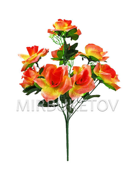 Искусственные цветы Букет Розы, 9 голов, 500 мм