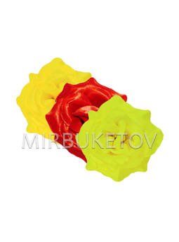 Роза атласная открытая, 75 мм, F69-4mix