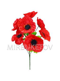 Искусственные цветы Букет Полевого мака, 7 голов, микс, 460 мм