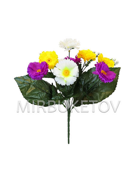 Искусственные цветы Букет Маргаритки разноцветной, 10 голов, 350 мм