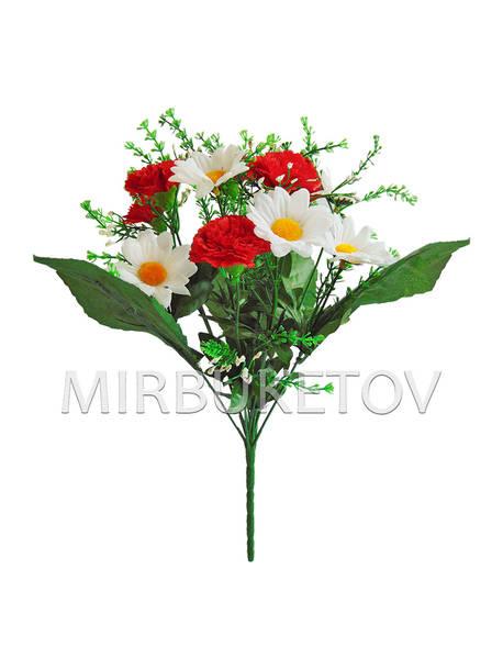 Искусственные цветы Букет Белая Ромашка и Красная Гвоздика, 360 мм