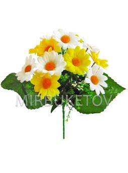 Искусственные цветы Букет Лимонно-белая Ромашка, 13 голов, 370 мм