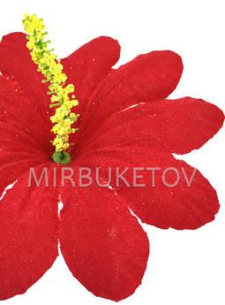 Пресс-цветок с тычинкой Пиретрум, бархат, красный, 130 мм