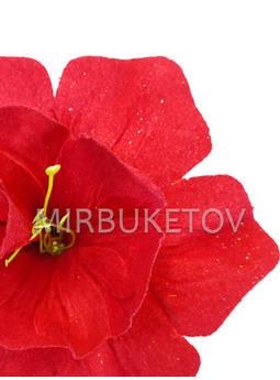 Пресс цветок с тычинкой Нарцисс, бархат, красный, 150 мм