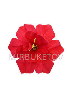 Искусственные Пресс цветы с тычинкой Нарцисс, бархат, красный, 150 мм