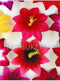 Пресс-цветок с тычинкой Лилия, бархат, микс, 100 мм