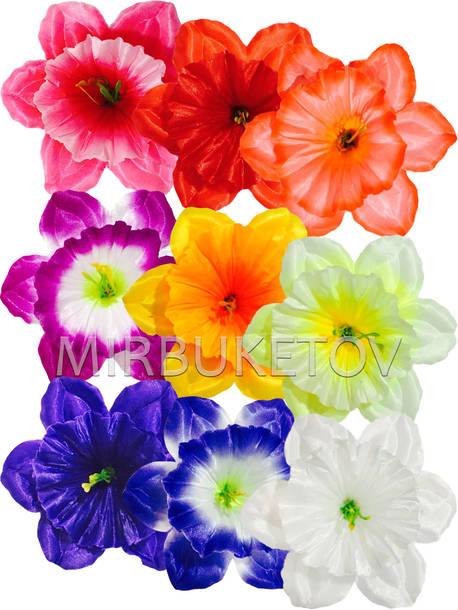 Искусственные Пресс цветы с тычинкой Нарцисс, атлас, микс, 120 мм,