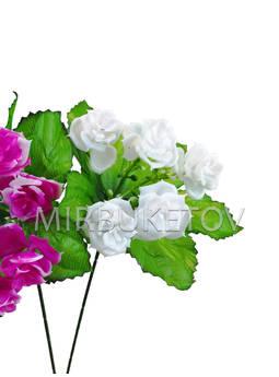 Бордюрный букет пластмассовой Розы, 5 голов, микс, 220 мм