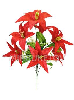 Искусственные цветы Букет Лилии, 7 голов, 550 мм