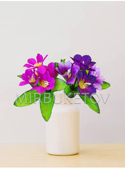 Искусственные цветы Бордюрный букет Мальвы, 5 голов, микс, 250 мм