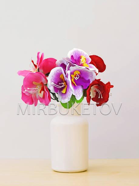 Искусственные цветы Бордюрный букет Орхидеи, 5 голов, микс, 250 мм