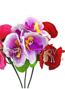 Бордюрный букет Орхидеи на 5 голов, микс, 250 мм