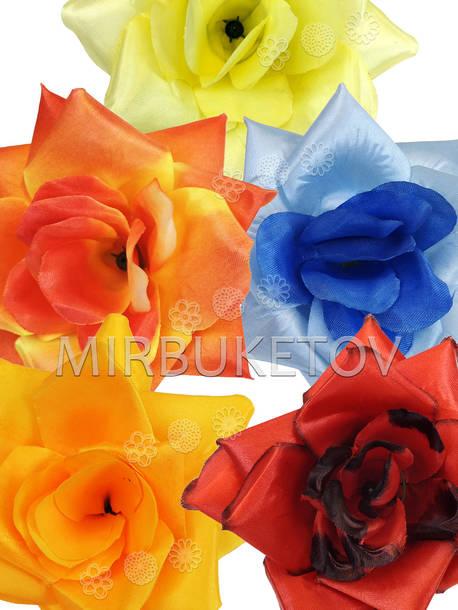 Искусственная Роза открытая, атлас, микс, 145 мм