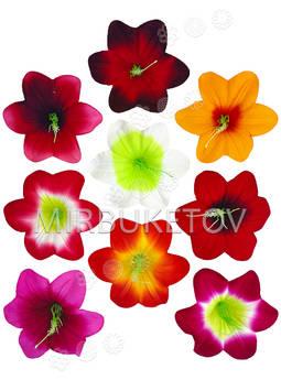 Пресс цветы с тычинкой Мальвы, бархат, микс, 130 мм