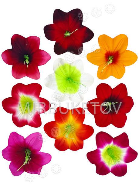 Искусственные Пресс цветы с тычинкой Мальва, бархат, микс, 130 мм