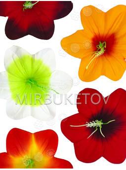 Пресс цветы с тычинкой Мальва, бархат, микс, 130 мм