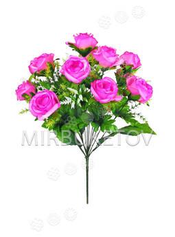 Искусственный букет открытой Розы, 13 голов, микс, 470 мм