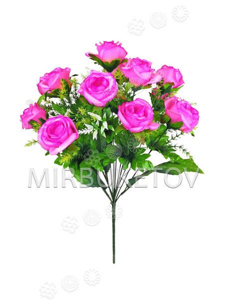 Искусственные цветы Букет открытой Розы, 13 голов, микс, 470 мм