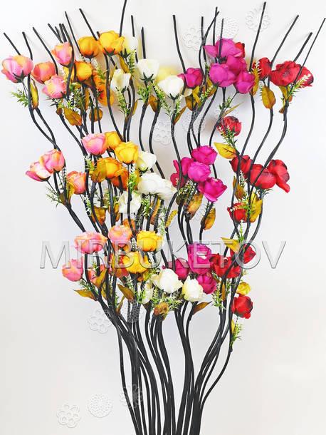 Ветка для декора спиральная деревянная черная, 3 Розы с листом, 1.50 м