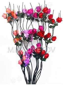 Ветка для декора спиральная деревянная черная, 3 Розы с тройным листом, 1.50 м