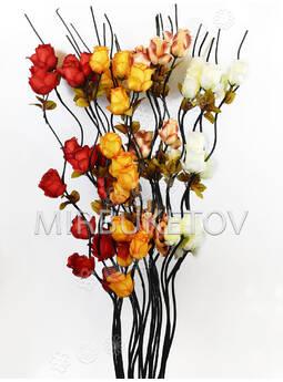 Ветка для декора спиральная, 3 Розы с тройными листьям, 1.50 м