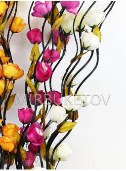 Ветка для декора спиральная черная, 3 Розы с листом, 1.50 м